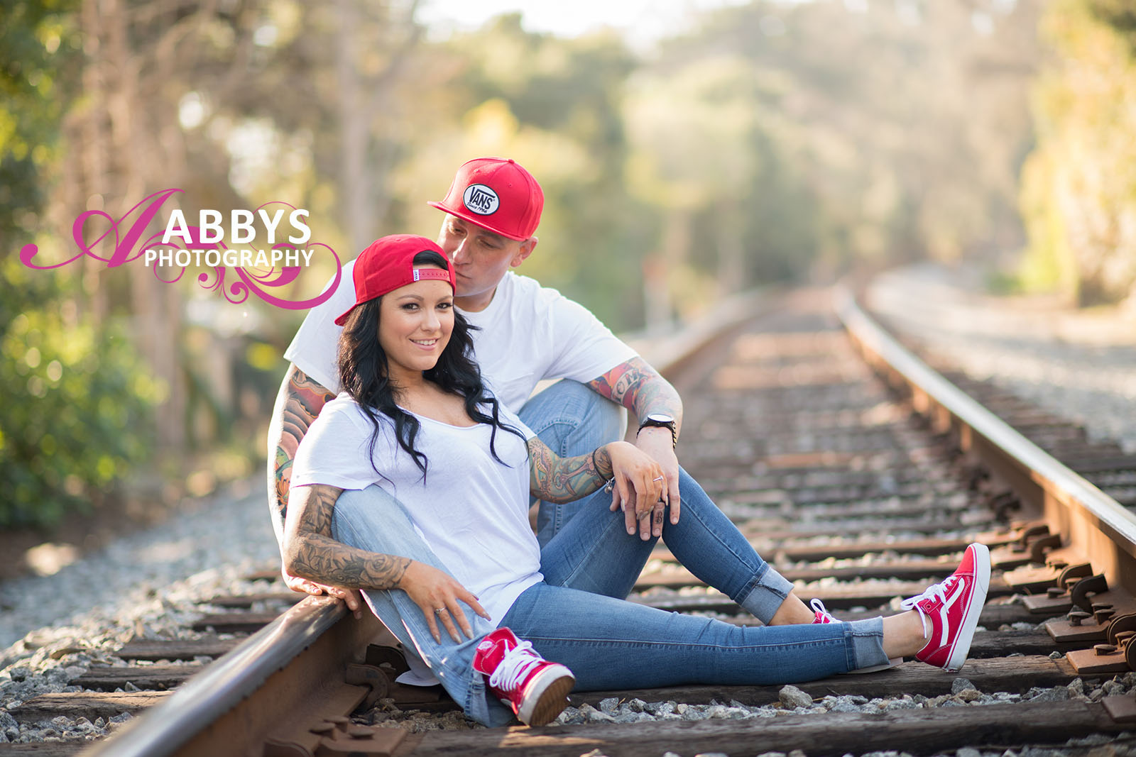 Engagement photography can be shot on either side of the tracks.