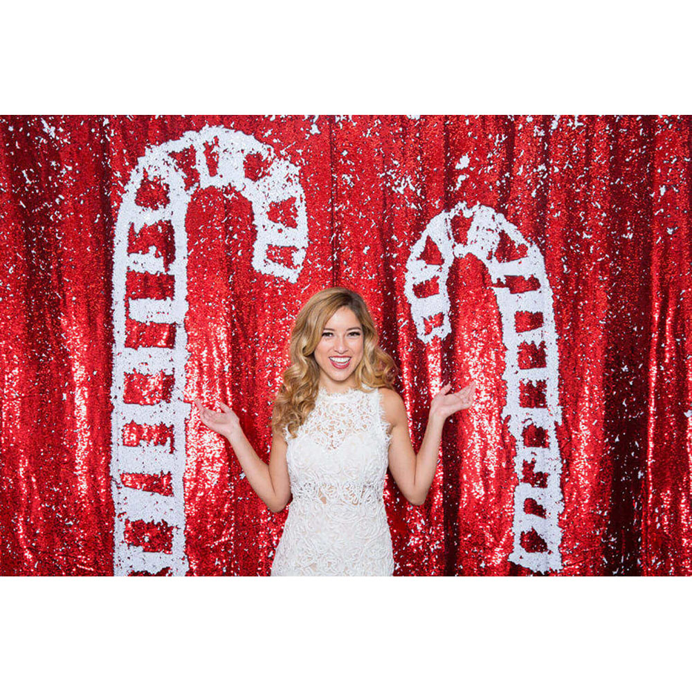 A holiday custom backdrop in the photo booth is a good idea to liven up any Bakersfield event.
