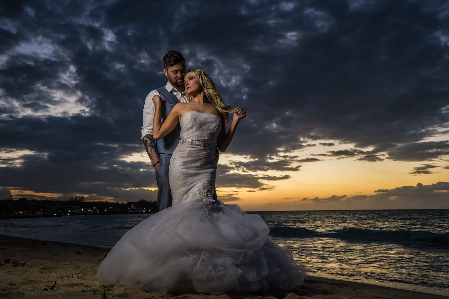 The beach can provide a dramatic piece of wedding photography.