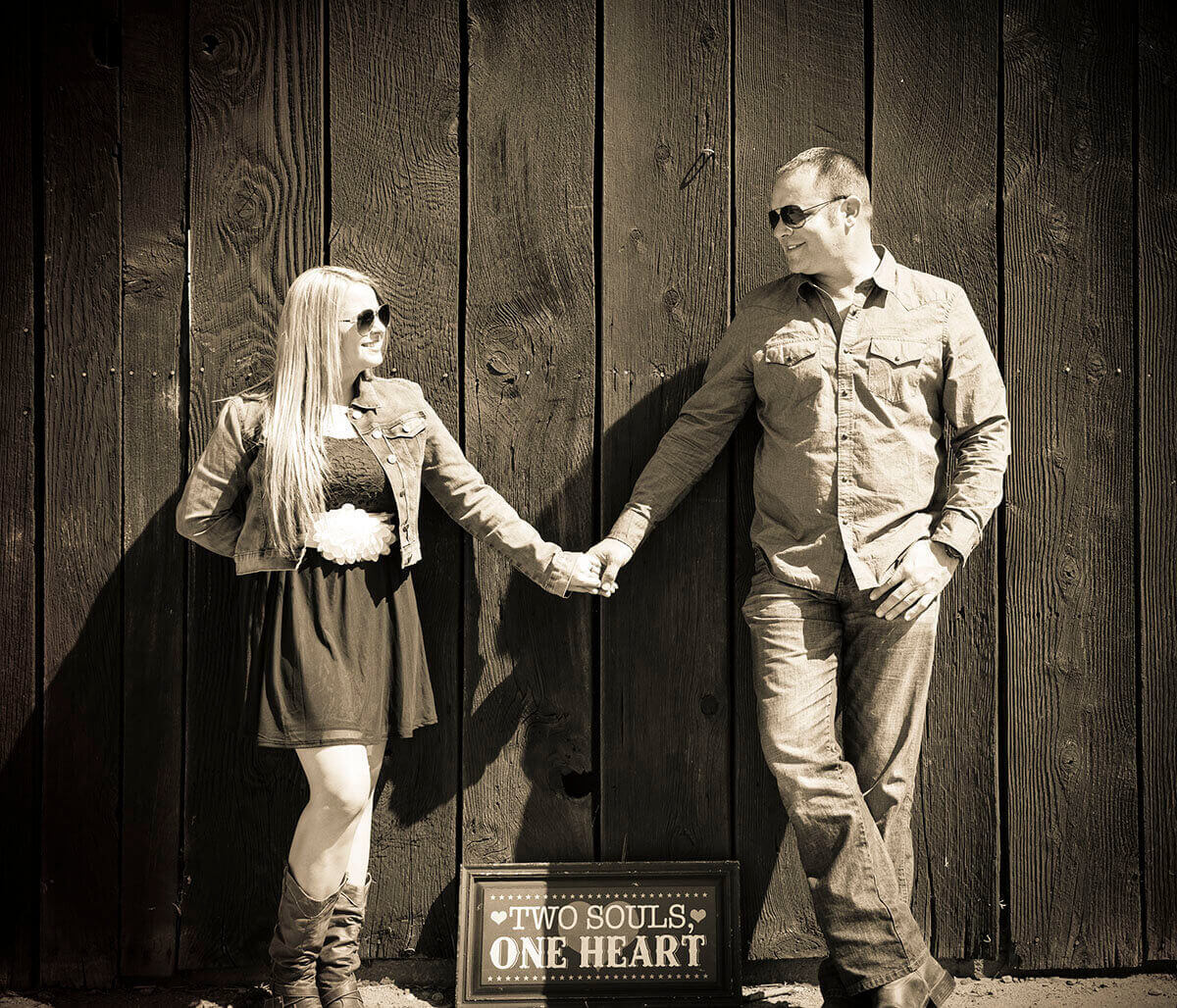 Non-color engagement photography is a popular option for some Bakersfield couples.